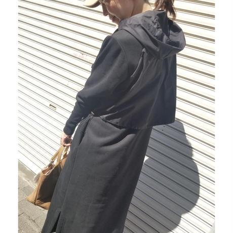 フード付きドロスト裏起毛ワンピース 黒ブラック