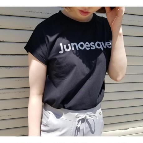 フレンチスリーブロゴTシャツ Junoesque 白ホワイト ピンク 黒ブラック