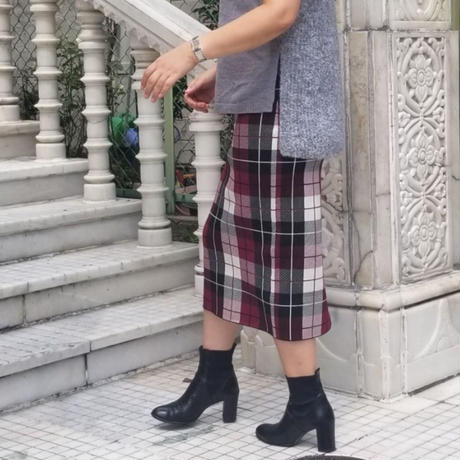 チェックジャガードニットスカート ボルドー