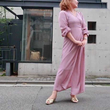 長袖サテンカシュクールワンピース ピンク
