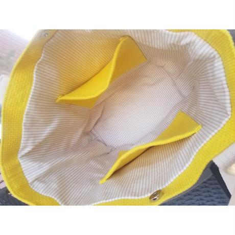 TACHI-NUトートバッグ  CROSS Lサイズ 黄色 イエロー グレージュ