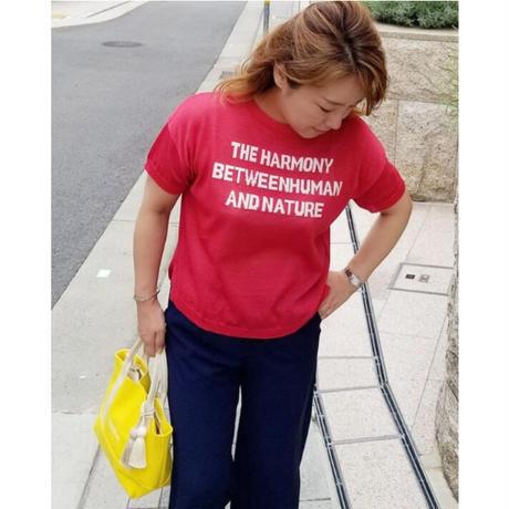 ロゴ半袖コットンニット 赤レッド 黄色イエロー 紺ネイビー