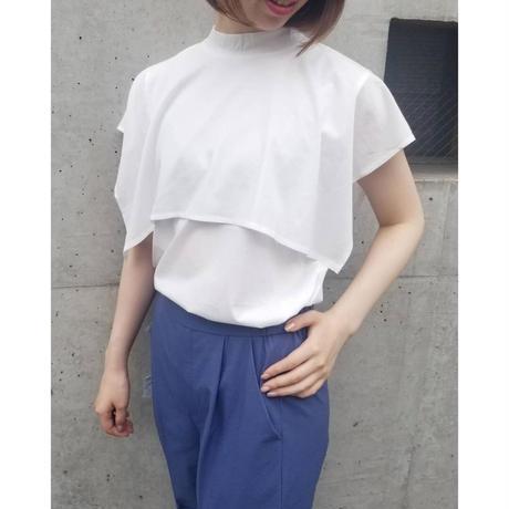 シルケットケープTシャツ 白ホワイト ブルー 黒ブラック