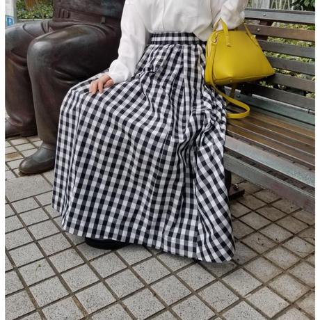 ギンガムチェックフレアスカート