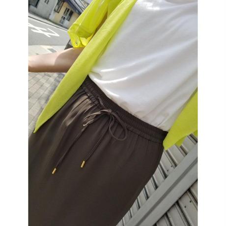 ジョーゼットサイドスリットスカート カーキ 黒ブラック