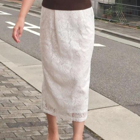 リーフ柄レースタイトスカート 白ホワイト