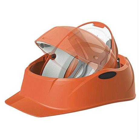 回すだけの簡単組み立て!防災用ヘルメット クルボ