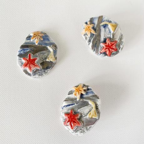 錦(にしき)プラチナ彩磁土ブローチ