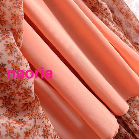予約制 オレンジ小花柄シフォンワンピース