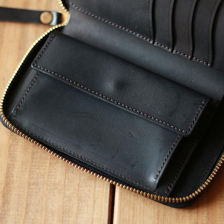 【THE SUPERIOR LABOR 】cordovan zip midlle wallet  -BLACK-