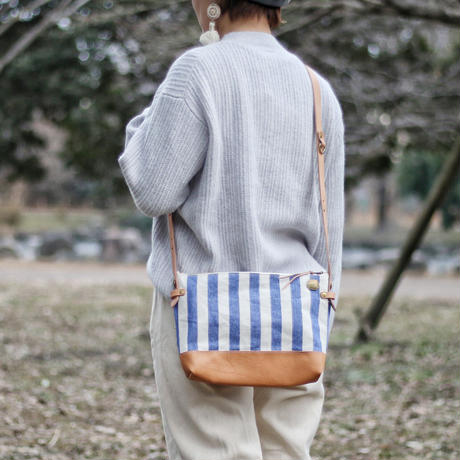 【THE SUPREIOR LABOR】stripe leather bottom shoulder bag L
