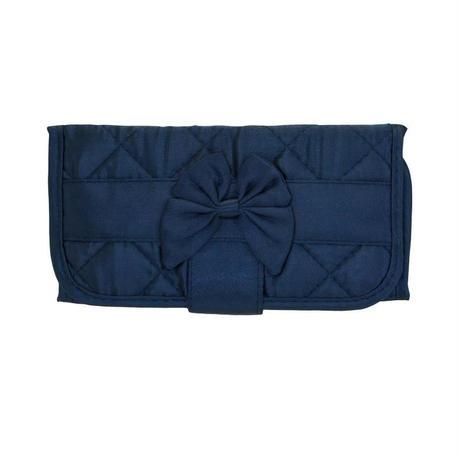 ナラヤ(NaRaYa) 三つ折財布(スリムタイプ・ファスナー付小銭入れ付)・キルティングサテン(ネイビー) NBS-268B