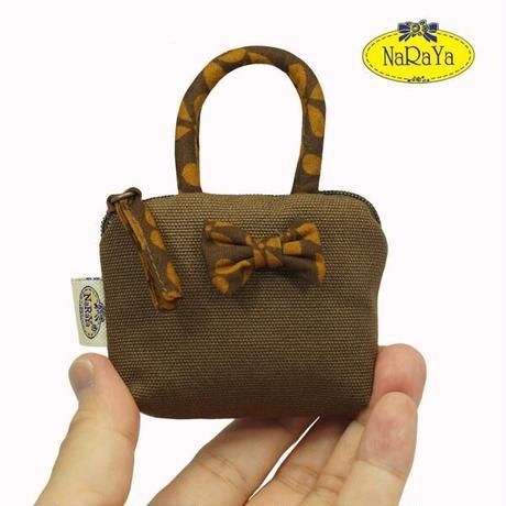 ナラヤ バッグ NaRaYa タイ かわいい手のひらサイズ ミニバッグ 化粧ポーチ・キャンバス(ブラウン・ココア) NCNC-255A 送料無料