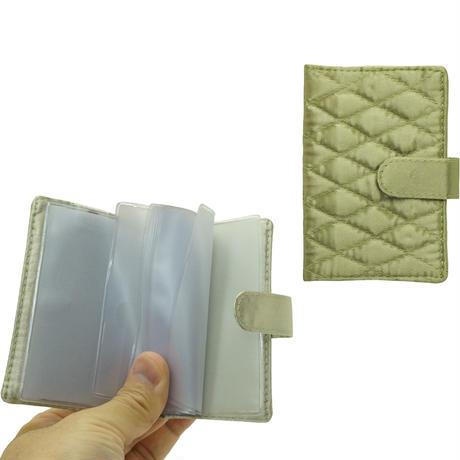 NaRaYa(ナラヤ) 12枚クリアーファイル付カードケース・キルティングサテン(オリーブグリーン) NBS-311