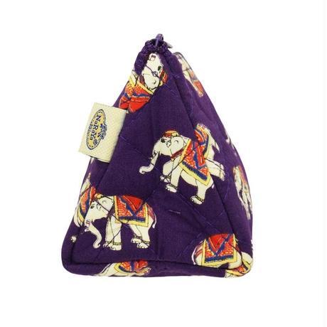 ナラヤ NaRaYa  化粧ポーチ 三角コスメポーチ 大容量タイプ ・パープルエレファント  送料無料