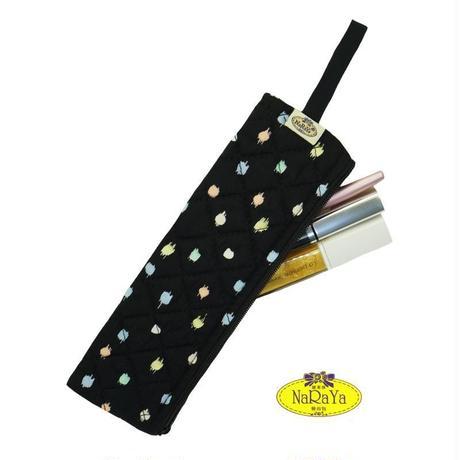 ナラヤ NaRaYa 化粧ポーチ 細型スリム メイクブラシ 化粧筆ケース M・ペイントドット   NB-166A  送料無料