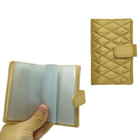 NaRaYa(ナラヤ) 12枚クリアーファイル付カードケース・キルティングサテン(ゴールド) NBS-311