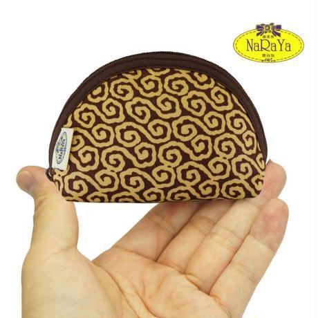 ナラヤ NaRaYa タイ かわいい手のひらサイズ シェル型ポーチ 化粧ポーチ ・ジャパネスク(ブラウン) NB-187 送料無料