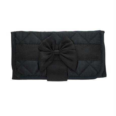 ナラヤ(NaRaYa) 三つ折財布(スリムタイプ・ファスナー付小銭入れ付)・キルティングサテン(ブラック) NBS-268B
