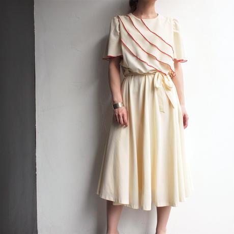 Asymmetry designed  flare dress