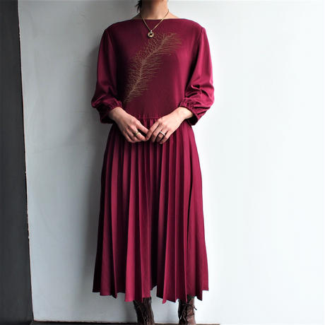 Made in England Bordeaux pleats dress