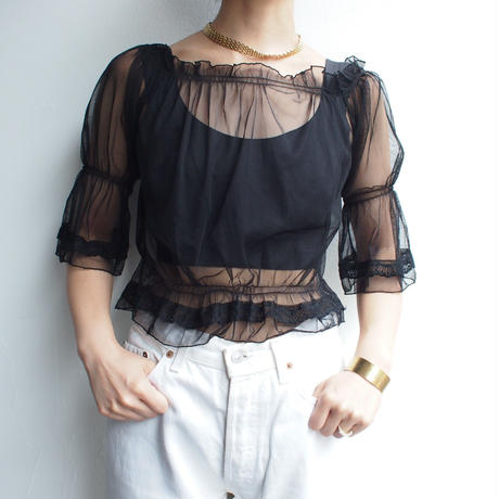 see-through tulle blouse