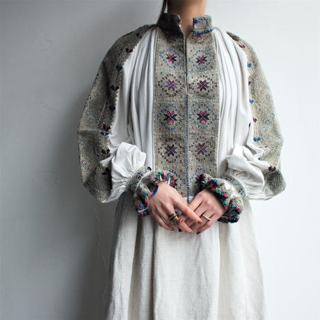 1940's50's East Europe  embroidery dress 【Gray Color】