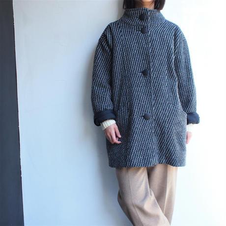 Tweed stand collar short coat