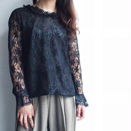 Black lace frill blouse