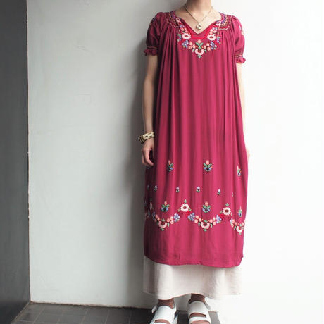 1960's~ Hand embroidery East Europe dress
