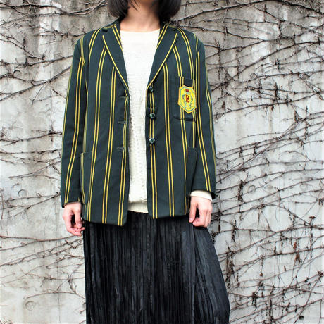 1960's Green Yellow stripe tailored jacket