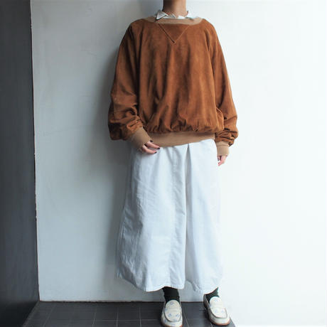 Suede pullover with side pockets