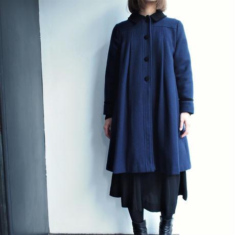 Made in USA Deep blue flea wool coat
