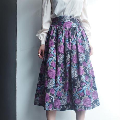 Purple flower print skirt