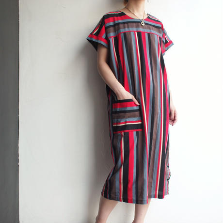 French sleeve Multi stripe  dress