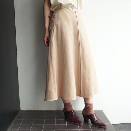 Linen rayon flare skirt