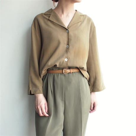 Silk khaki Open collar shirt
