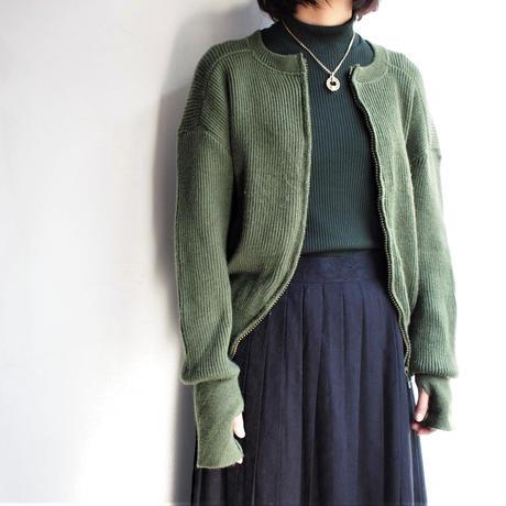 Khaki wool cardigan riri zipper