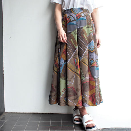 Made in Finland  watercolor painting print skirt