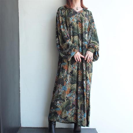1980's Multi pattern volume sleeve dress