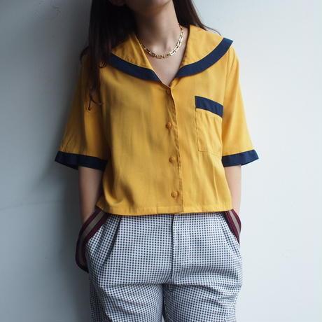 Yellow  big collar blouse