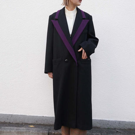 Made in USA Purple piping chesterfield coat