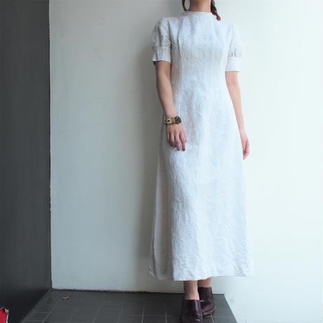 1970's Cotton Jacquard white dress