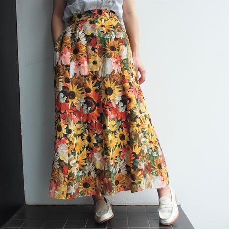 向日葵Print  long skirt