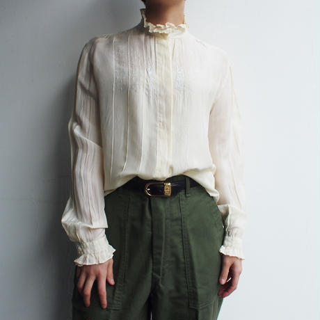 Stand collar embroidery  Silk blouse