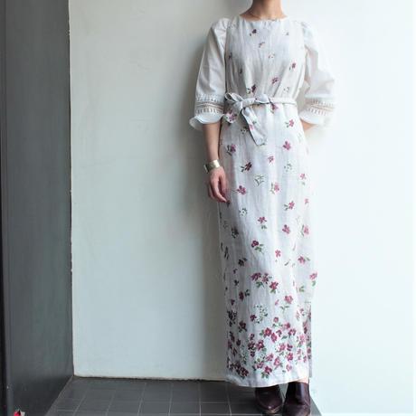 Linen sleeveless  flower print dress