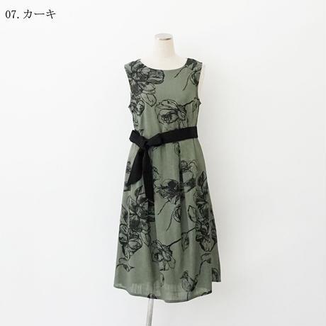 【特別提供品】麻混プリントワンピース[3016695]