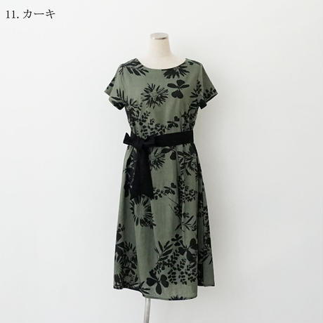 【特別提供品】麻混プリントワンピース[3016694]