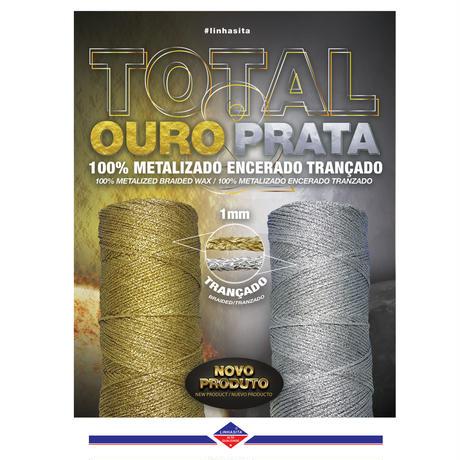 【20m小巻】LINHASITAワックスコード<Total Metal>OURO(金)とPRATA(銀) LINHASITA社製 1mm (ロウビキ紐 蝋引き紐 waxcord)