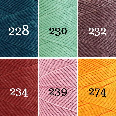【20m小巻】LINHASITA社製ワックスコード<取り扱い60色> 0.75mm (ロウビキ紐 蝋引き紐 waxcord) お好きな3色セット
